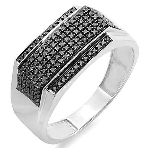 0.48 Carat (ctw) Sterling Silver Black Diamond Men's Flashy Hip Hop Pinky Ring 1/2 CT (Size 8) by DazzlingRock Collection