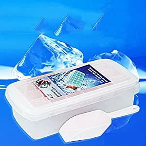 Saumota Easy Release Plastic Ice Molds Ice Stick Tray Ice Cube Ice Freezer With ice scraper and Lid-Pink