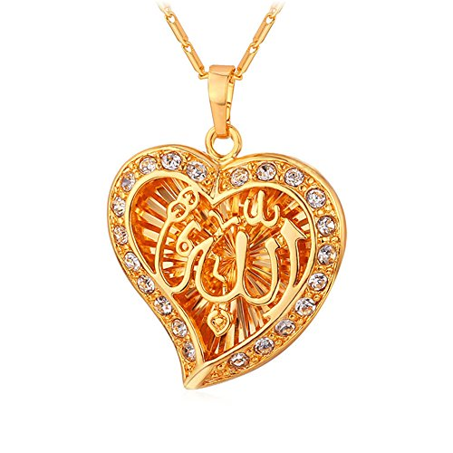 18K Gold Plated Vintage Muslim Jewelry Islamic Heart Allah Pendant Necklace