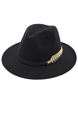 3af4b9e8f9c Women Fedora Hat Classic Jazz Wide Brim Belt Trilby Felt Cap Black One One  Size