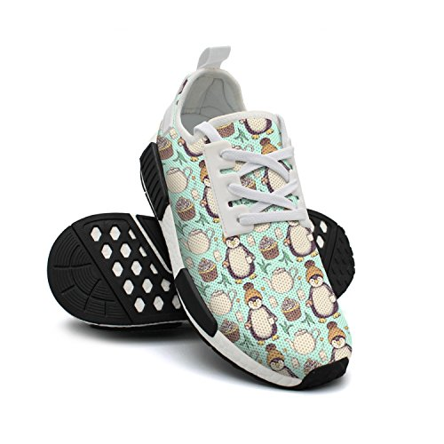 FAAERD Fashion Sneakers Shoes Pinguin in Hat with Tea Tea Tea Green Print Lightweight Breathable Mesh Womens Running Shoes B07DRHDHNV Shoes bdd347