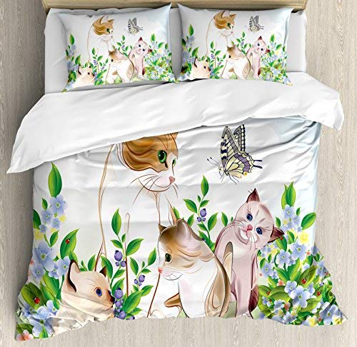 Cat 4 Piece Twin Size Duvet Cover Set, Cute Kittens in Flower Meadow Field Happy Cats Family with Butterfly Kids Cartoon Print, 4pcs Bedding Set Quilt Cover Bedspread with 2 Pillow Cases, Multi