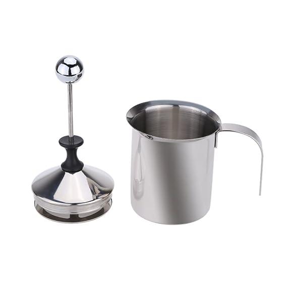 Dealglad® espumador de leche máquina cafetera de acero inoxidable doble malla hacer espuma de leche DIY Fancy café jarra para leche capuchino Latte 400 ml: ...