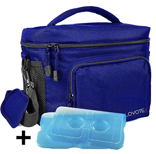 Large Insulated Lunch Bag Cooler Tote With 2 Reusable Cooler Ice Packs Easy  Pull Zippers 561b4b7524201