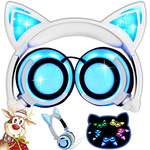 Kids Headphones with Cat Ear, AMENON Wired On-ear Foldable LED Gaming Flashing Lights USB Charger Earphone Headset for Children Compatible with IOS Phone and Android Phone Laptop (A White)