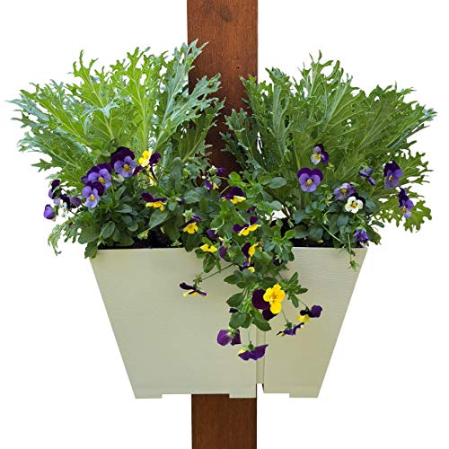Adjustable Half-Wrap Hanging Planter: Modern, Space Saving Square Container for Flowers and Herbs. Design Outdoor Vertical Gardens on Porch Posts, Patios, Pergolas and More.