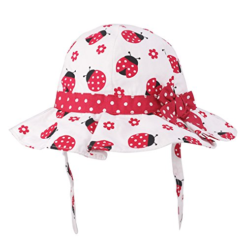 (Baby Girls Toddler Cotton Bucket Hat Summer Bowknot Hat Printed Sun Hat UV Protection (6 Months - 4 Years) (2.5-4 Years, Red/Beetle))