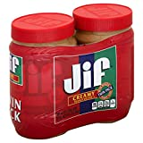 Jif Creamy Peanut Butter, 40 oz. (2 Count) -  7g (7% DV)  of Protein per Serving, Smooth, Creamy Texture - No Stir Peanut Butter