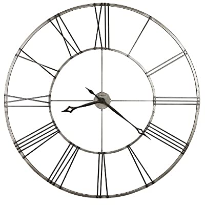 "Howard Miller 625-472 Stockton Gallery Wall Clock - This 49"" diameter wrought-iron wall clock is finished in brushed aged nickel with applied charcoal black Roman numerals. The hour and minute hands are finished in charcoal black and feature an open fret-cut diamond style. Clock ships in two easy-to-assemble sections, making it possible to ship via UPS and FedEx. - wall-clocks, living-room-decor, living-room - 516YsQb81YL. SS400  -"