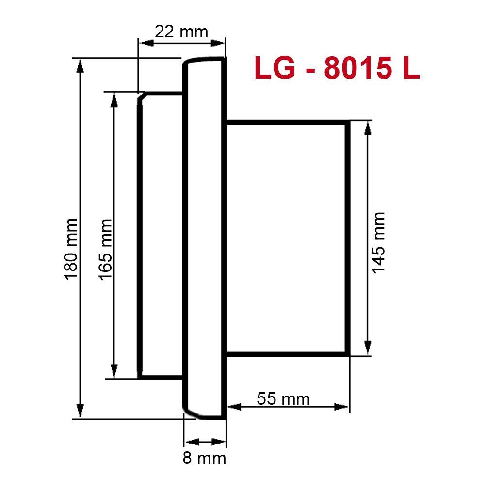 Edelstahl Abluftgitter LG 8015 L Lamellengitter DIN 150 L/üftungsgitter