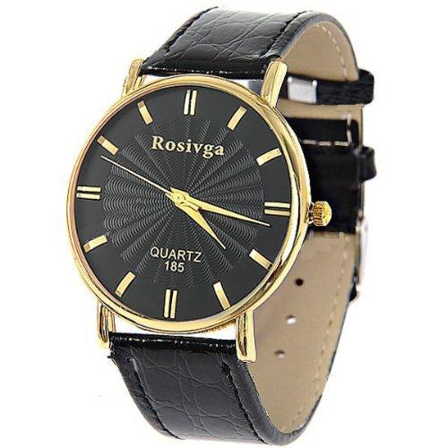 Round Case Quartz Analog Watch Wrist Watch Timepiece with PU Leather Band for Man Boy SWMN5-217411 (Analog Round Timepieces)