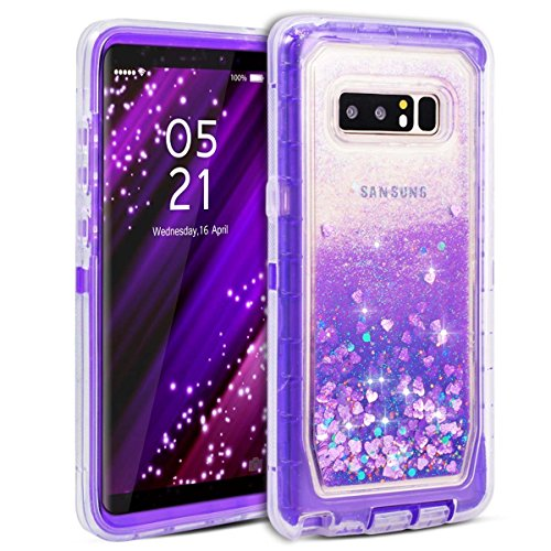 Galaxy Note 8 Case, Dexnor Glitter 3D Bling Sparkle Flowing Quicksand Liquid Bumper Clear 3 in 1 Shockproof TPU Silicone + PC Heavy Duty Protective Defender Cover for Samsung Galaxy Note 8 - Purple