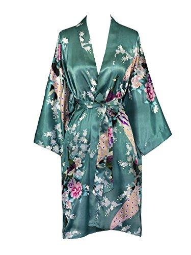 Old Shanghai Women's Kimono Short Robe - Peacock & Blossoms - Jade (on-seam pocket)