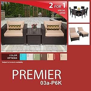 Premier 13 Piece Outdoor Wicker Patio Furniture Package PREMIER-03a-P6K