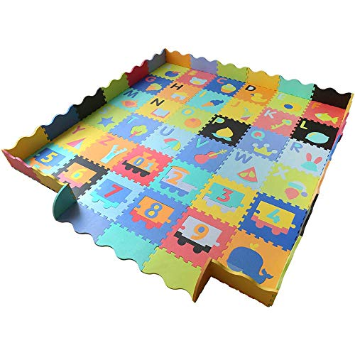 Baby Foam Play Mat with Fence – Interlocking Alphabet Crawling Mat with 36 Foam Floor Tiles For Sale