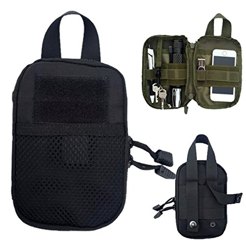 Tactical Molle EDC Pouch, Hoanan Gadget Pouch Compact Admin Pouch Pack Tools Belt Waist Bag Cell Phone Holster Holder Military Molle Pocket (black)
