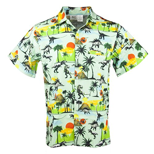 Funny Guy Mugs Mens Dinosaur Hawaiian Print Button Down Short Sleeve Shirt, -