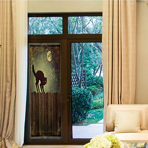 YOLIYANA Privacy Window Film,Halloween,for Home Office School,Angry Aggressive Cat on Old Wood Fences at,24''x70''