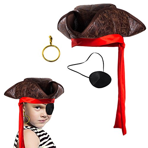 Tigerdoe Pirate Hat - 3 Pc Set - Pirate Hat and Eye Patch - Pirate Accessories - Pirate Costumes for Kids Brown -