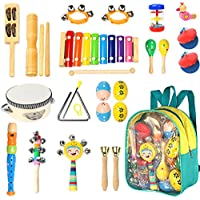 Toddler Musical Instruments- Ehome 15 Types 22pcs Wooden...