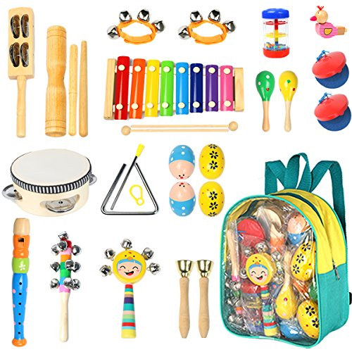 Toddler Musical Instruments Ehome 15 Types 22pcs Wooden Percussion Instruments Toy for Kids Preschool Educational Musical Toys Set for Boys and Girls with Storage Backpack