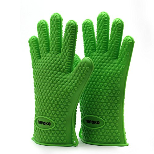 Resistant Silicone Grilling Barbecue Potholder Green