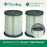2 - Hoover Elite Rewind Dust Cup Filters, Part # 59157055. Designed by FilterBuy to fit ALL Hoover Elite Rewind Upright Bagless Vacuum Cleaners