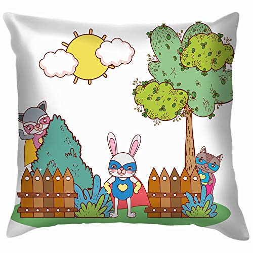 X-Large Rabbit Raccoons Friend Wearing Funny Costumes Animals Wildlife Adorable Cotton Throw Pillow Case Cushion Cover Home Office Decorative, Square 20X20 Inch