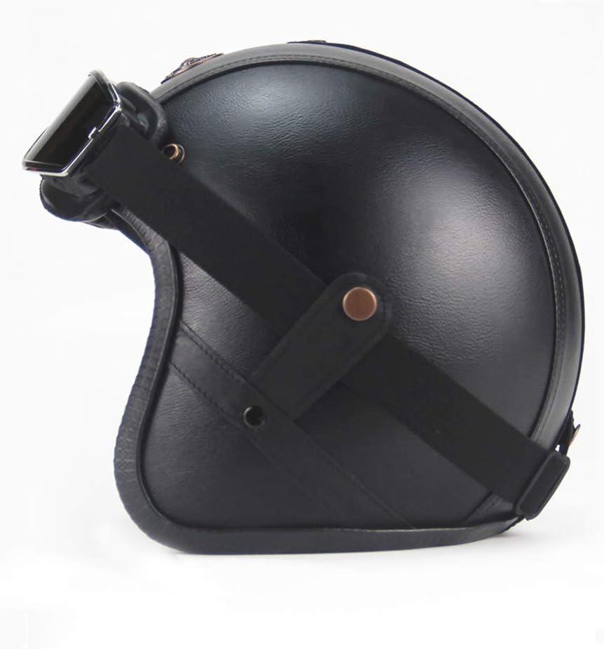 Cuero Hecho a Mano Cascos Jet Half-Helmet Cascos de la Motocicleta Scooter Motoneta Casco para Hombres Mujeres LEENY Retro Cascos Abiertos para Moto con Gafas de Protecci/ón