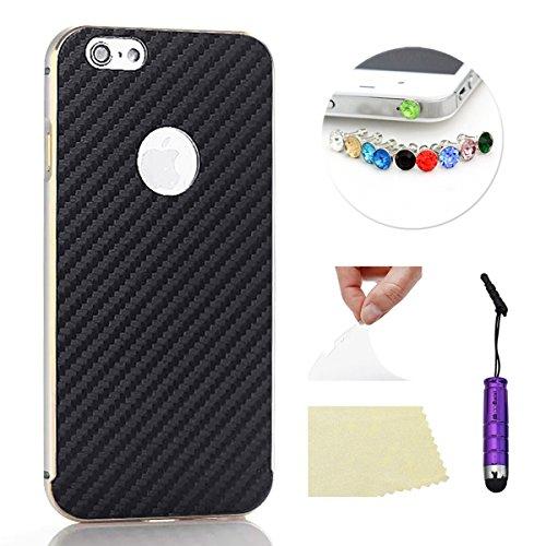 iPhone 5 5S Funda Case LifeePro Stylish 2 in 1 Patrón de teléfono híbrido [Anti-rasguños] [Antideslizante] Resistente a los golpes PU Cuero Negro Contraportada + Caja de parachoques de aluminio para i Plata
