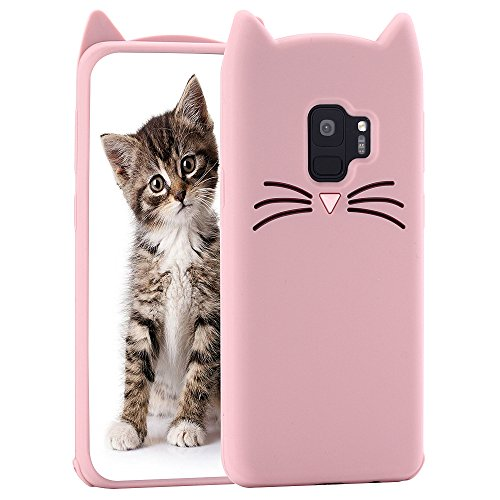 Cat Galaxy S9 Case, Miniko(TM) Cute Kawaii Funny 3D Pink MEOW Party Bread Cat Kitty Whiskers Protective Soft Rubber Case Skin for Samsung Galaxy S9 2017 Teen Girls Women Girly Kid