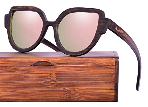 Wood Polarized Sunglasses 100% UV Protection, Bamboo Wooden Frame (Brown, - Polarized Lenses Protected Uv Are