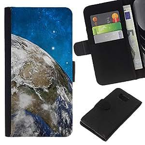 KingStore / Leather Etui en cuir / Samsung ALPHA G850 / Espacio Estrellas Cielo Azul Tierra Universo Planet