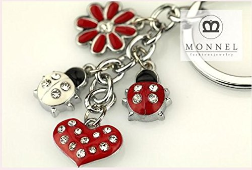 Z395 Cute Red Style Ladybug Heart Lily Charms Key Ring Keychain - Ladybug Key Ring Keychain