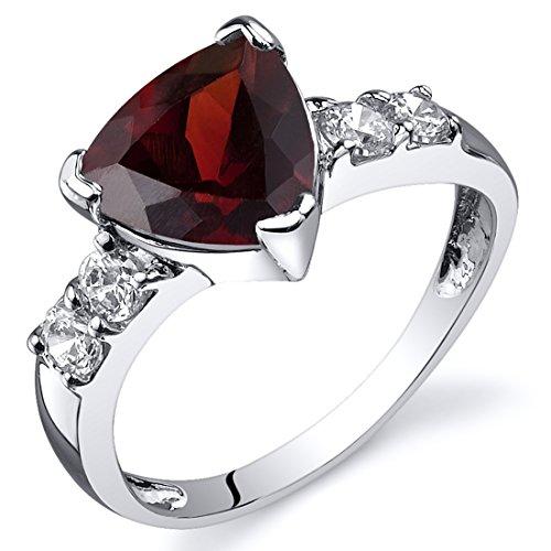 Garnet Ring Sterling Silver Rhodium Nickel Finish Trillion Cut 2.25 Carats Size 8