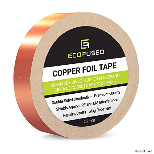 Premium Adhesive Copper Foil Tape - Double-Sided Conductive - 1 inch (25 mm) - EMI and RF Shielding, Paper Circuits, Electrical Repairs, Grounding, Arts and Crafts, Home Interior, Slug - Crafts Arts Copper