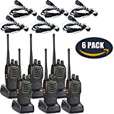 Walkie Talkies(6 Pack) with 6 Earpiece UHF 400-470Mhz 2 Way Radios