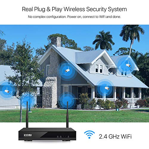 ZOSI 8CH 1080P Wireless Security Cameras System With 1TB Hard Drive,H.265+ 8Channel 1080P NVR and 8PCS 1080P 2.0MP Weatherproof WiFi Surveillance Cameras Indoor Outdoor, Night Vision, Remote Access