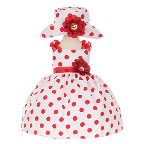 Cinderella Couture Baby Girls Red White Polka Dot Hat Occasion Dress -