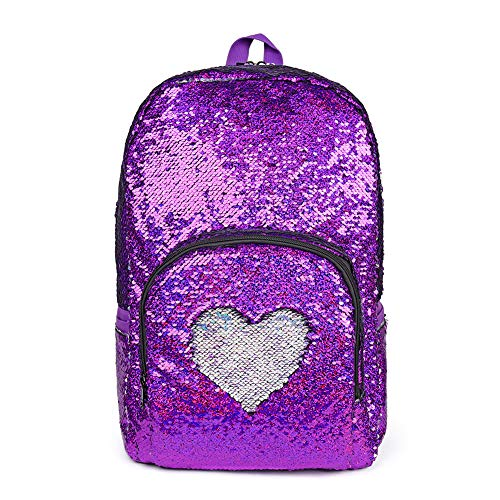 (Girls Reverse Sequin School Backpack Purse, Glitter Sequence Two Way Zip Back Pack Bag for kids Teens and Adult, 17