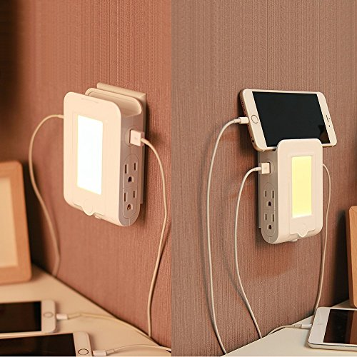 (LED Night Light Wall Mount Outlet Strip with 4 AC Outlets and 2 USB Ports Bedside Lamp for Bedroom)