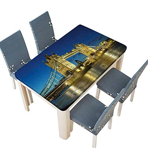 PINAFORE Polyester Tower Bridge from The North Bank at Dusk,London,UK Wedding Birthday Baby Shower Party W41 x L80.5 INCH (Elastic Edge) ()