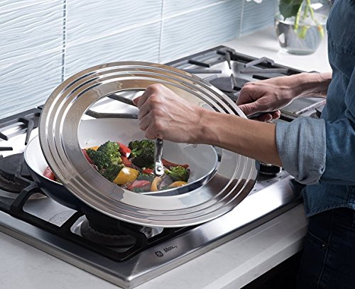 Universal Lid Stainless Steel 18/8 and Tempered Glass, Fits All 7'' to 12'' Pots and Pans, Replacement Frying Pan Cover and Cookware Lids by Modern Innovations (Image #6)