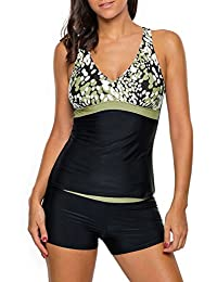 Women Sexy Spots Two Pieces Tankini Top with Swim Shorts Set Swimsuits