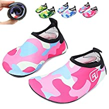"Water Shoes For Kids Boys Girls HLM Aqua Socks for Barefoot Kid Babies Toddlers for Size 5 6 7 8 9 10 11 12 13 1 2 3 4 4.5 5.5 6.5 7.5 10.5 11.5 12.5 1-2 2-3 (4-5M Toddler--4.76"" length feet, 4.Blue)"