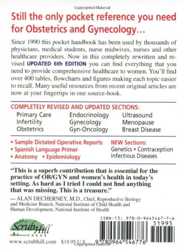 Obstetrics, Gynecology and Infertility: Handbook for Clinicians; Pocket Edition