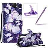 Strap Leather Case for Huawei P20 Pro,Wallet Flip Case for Huawei P20 Pro,Herzzer Bookstyle Stylish 3D Pretty Purple Butterfly Pattern Magnetic Stand PU Leather Case with Soft TPU