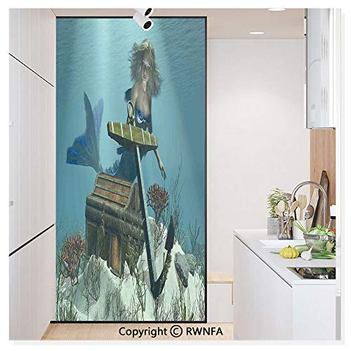 Treasures Mirrored Door Chest - Decorative Window Film,Mermaid in The Ocean Sea Discovering Pirates Treasure Chest Mythical Art Print Static Cling Glass Film,No Glue/Anti UV Window Paper for Bathroom,Office,Meeting Room,Bedroom,Azu