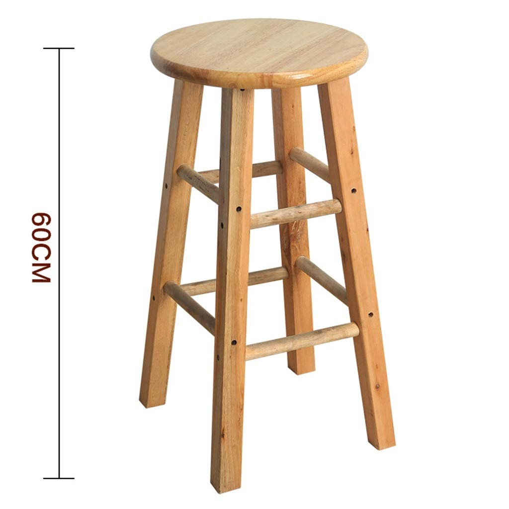 60cm Stool Wooden Bar Stools, Round High Stools, for Counter Café Kitchen Breakfast Pub (Size   50CM)