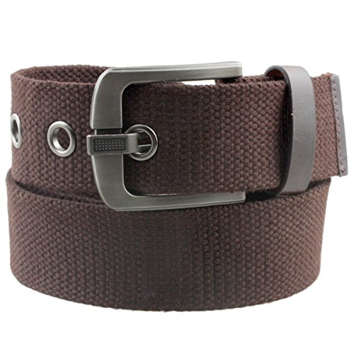 Samtree Canvas Web Belts for Men Women,Braided Solid Color Hole Belt(Brown)
